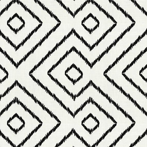 Black And White Optical Diamond Linen Fabric Modern Drapery