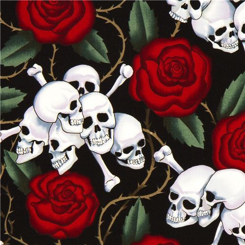 black Alexander Henry fabric with roses and skulls