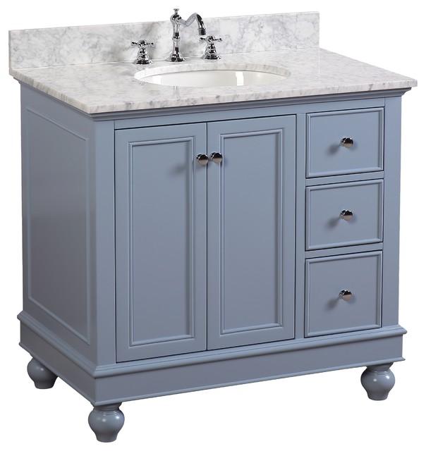 "Bella Bath Vanity, Base: Powder Blue, 36"", Top: Carrara Marble"