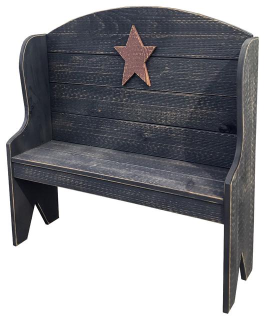 Awe Inspiring Primitive Rustic Miniature Deacons Bench With Country Star Inzonedesignstudio Interior Chair Design Inzonedesignstudiocom