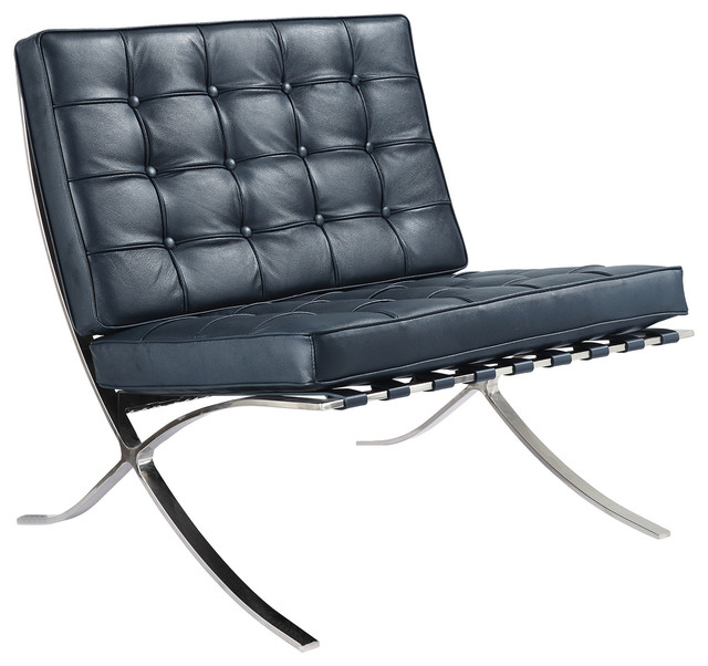Navy blue italian leather lounge chair contemporary for Blue leather chaise