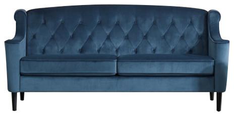 Divani Casa Carly Transitional Blue Velour Sofa