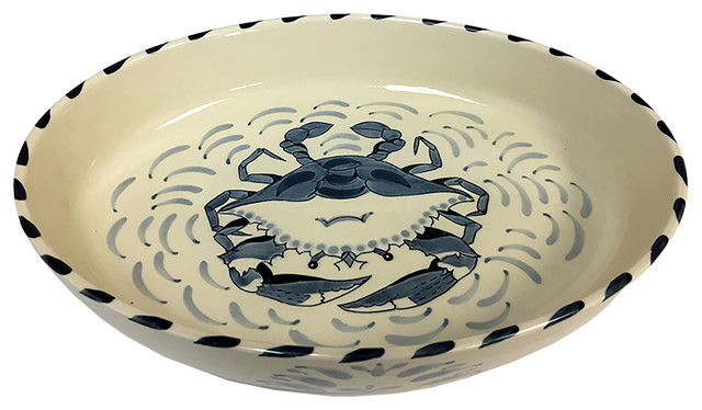 Blue Crab Medium Oval Casserole Dish, Set Of 2.
