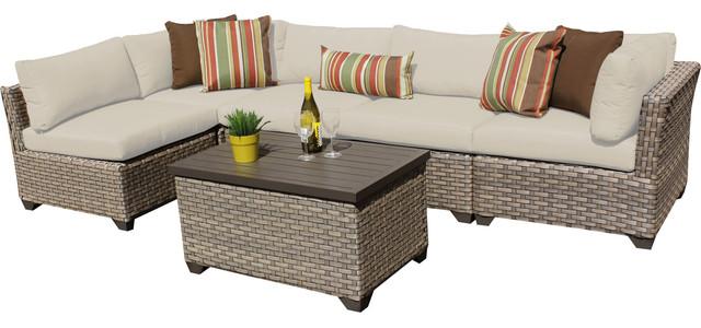 Hampton 6 Piece Outdoor Wicker Patio Furniture Set 06a Contemporary Outd