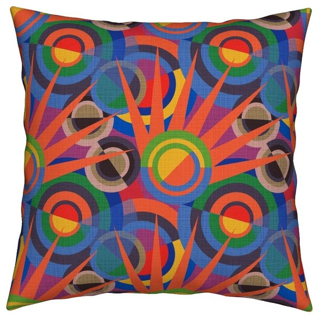 Contemporary Sofa Geometric Pillows: Delaunay Modern Geometric Abstract Art Throw Pillow