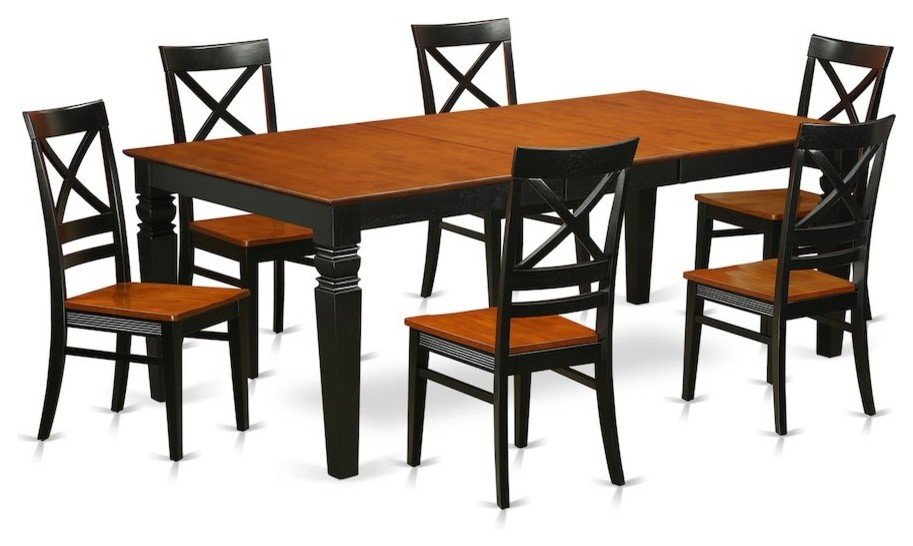 7-Piece Kitchen Table Set With a Dining Table and 6 Chairs, Black and Cherry