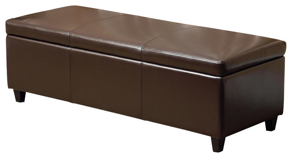 Swell Abbyson Living Frankfurt Leather Storage Ottoman Dark Brown Bralicious Painted Fabric Chair Ideas Braliciousco