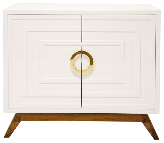Harrison Hollywood Regency White Lacquer Brass Media Cabinet - Midcentury - Media Storage - by ...