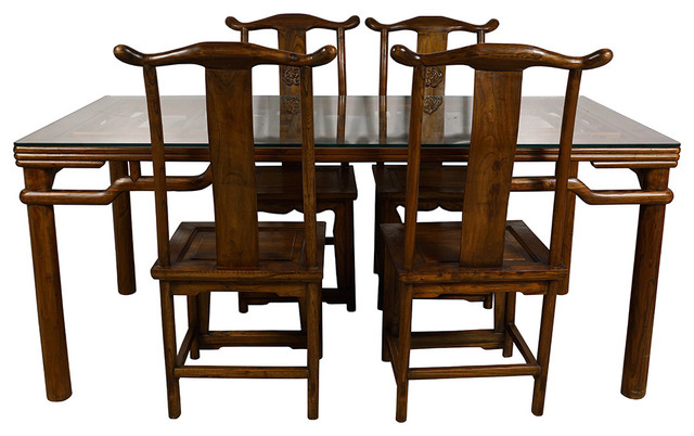 Consigned Chinese Antique Carved Dining Table W 4 Chairs Set Asian Dining Sets By Golden Treasures Antiques And Collectibles Inc
