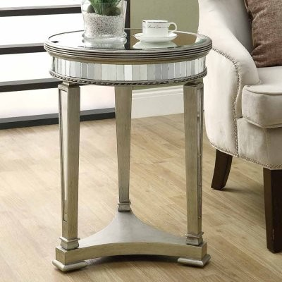 Monarch Round Mirrored Accent Table Modern Side Tables And End By Hayneedle