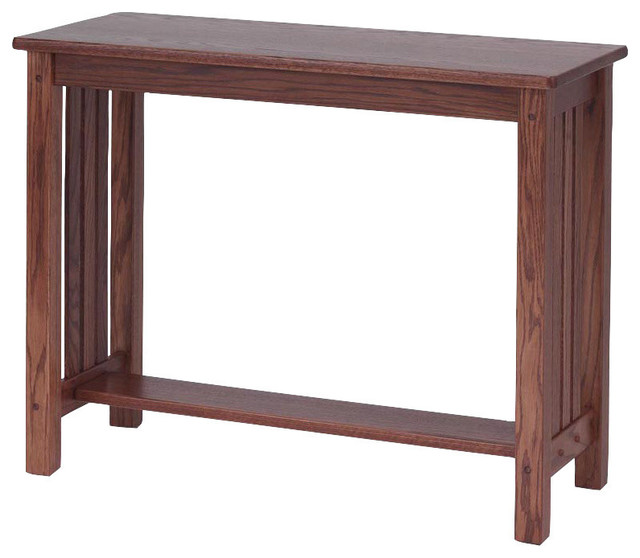 Mission Style Solid Oak Sofa Table Chesnut