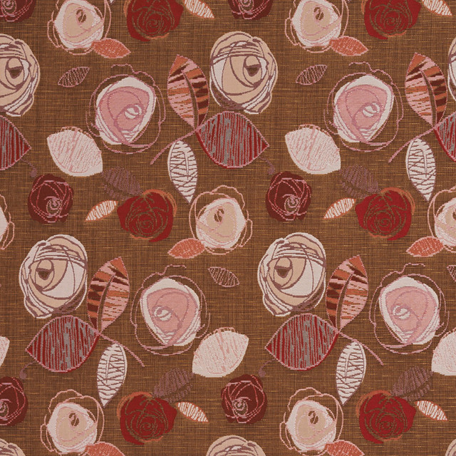 red pink and brown roses metallic upholstery fabric by the yard
