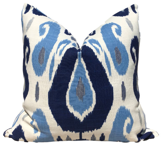 """Ikat Pillow, Moroccan Pillow, Blue and White, 22""""x22"""", Without Pillow Insert"""
