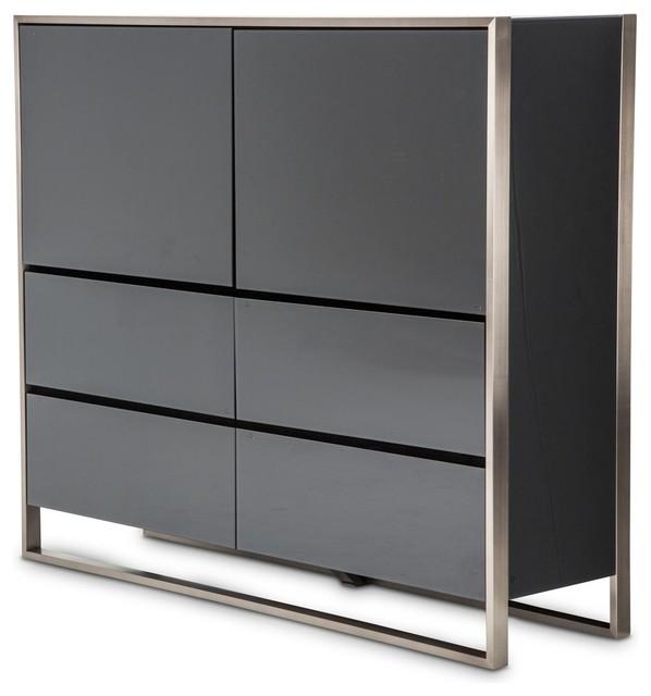 Aico Michael Amini Metro Lights Metal Storage Cabinet.
