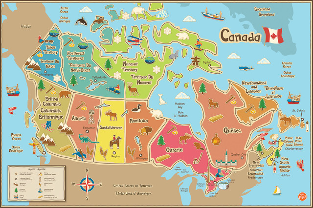 kids canada dry erase map decal - contemporary - wall decals -