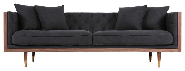 Kardiel Woodrow Neo Classic Midcentury Modern Sofa, Walnut/urban Ink.