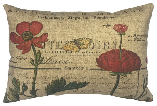 French Flowers Linen Pillow.