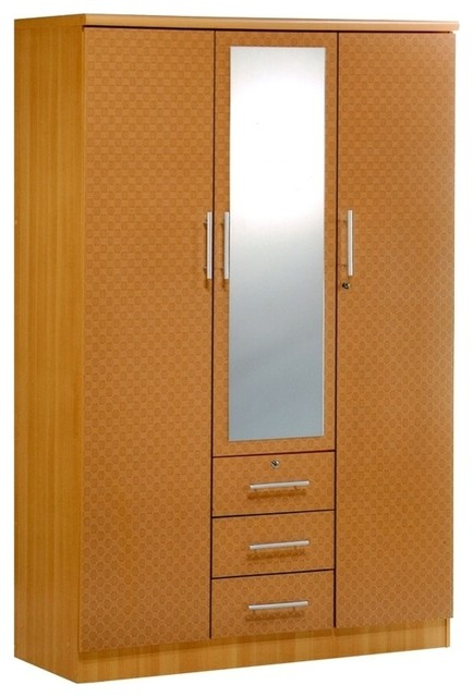 3 Door Wardrobe With Mirror Contemporary Armoires And