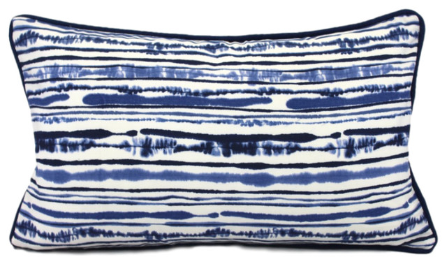 """Cotton Pillow Cover, Blue And White With Blue Trim, 12""""x20""""."""