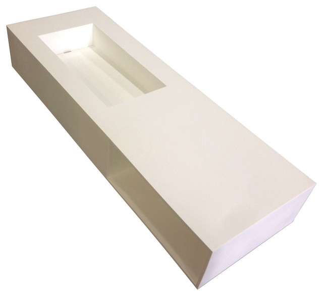 Adm Rectangular Countertop Sink, Matte White, 48x20.
