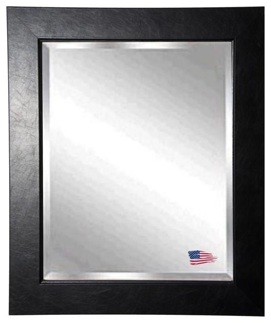 "American Made Black Superior Beveled Wall Mirror, 33""x37""."
