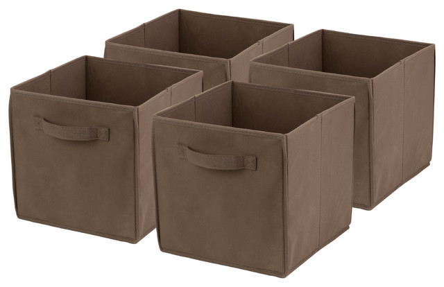 Honey Can Do 4-Pack Non-Woven Foldable Cube, Taupe.