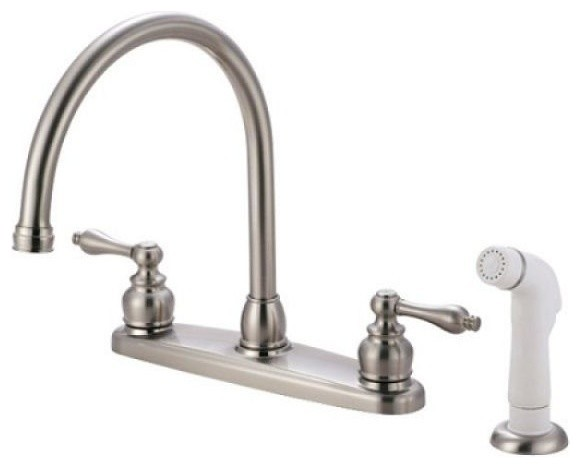 Double Handle Kitchen Faucet With White Sprayer