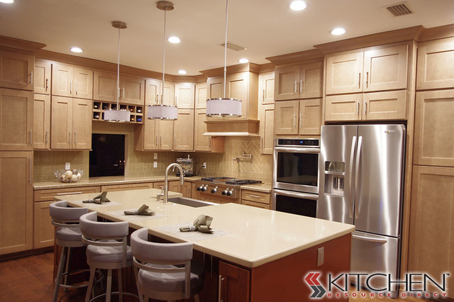 Double Stacked Shaker Cabinets Contemporary Kitchen