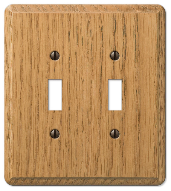 Amerelle contemporary oak wood toggle wall plate