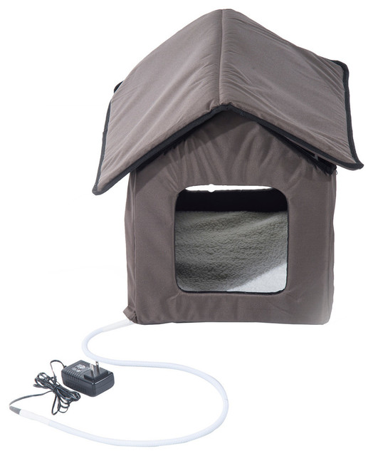 Pawhut Outdoor Heated Cat House, Brown