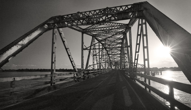 Sunset highway 90 new orleans louisiana fine art black and white photography 12