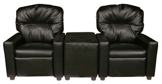 Black Leather Like Child Recliner Chair Theater Seating