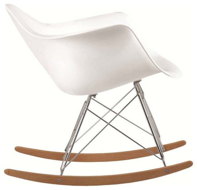 Attirant Molded White Plastic Armchair Rocker, White