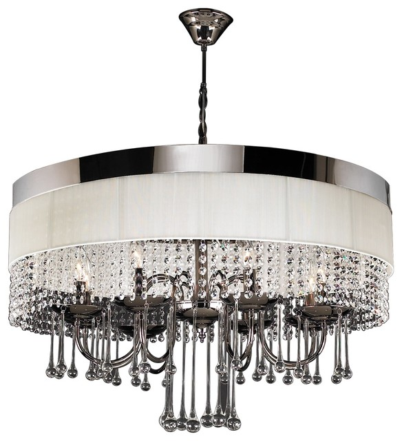 Elisa Modern Black Chrome White Linen Crystal Chandelier – Modern Black Chandelier