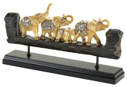 Elephant Family Carved Decor