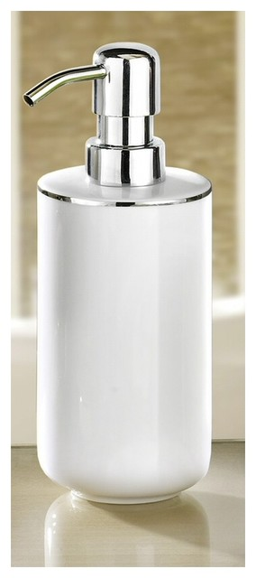 Luxury White Porcelain Soap Dispenser With Silver Accent 13 5oz