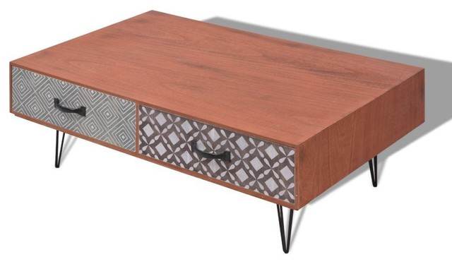 Peachy Vidaxl Brown Coffee Table Living Room Low Sofa Tea Stand Side Cabinet Drawers Pabps2019 Chair Design Images Pabps2019Com