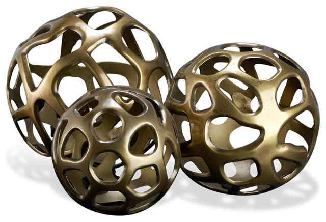 Decorative Balls Australia Fair Interlude Eva Sculptural Spheres Set Of 3  Transitional Inspiration Design