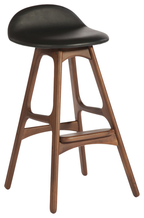 Torbin-1 Counter Stool, American Walnut Black Leather