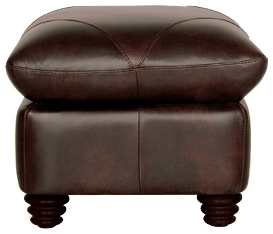 Genuine Italian Leather Ottoman In Chocolate Brown