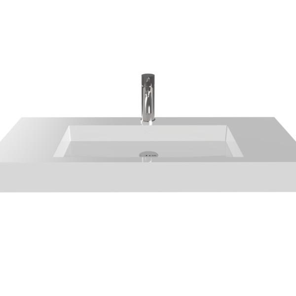 Badeloft Stone Resin Wall-Mounted Sink, Glossy.