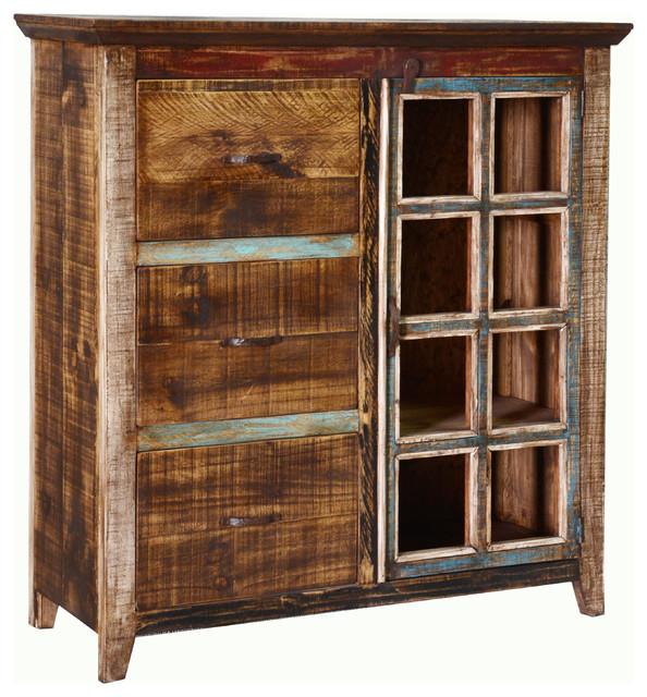 Cabana Bookcase File Cabinet Multicolor