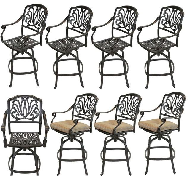 Sensational Outdoor Patio Swivel Bar Stools Cast Aluminum Set Of 8 Squirreltailoven Fun Painted Chair Ideas Images Squirreltailovenorg