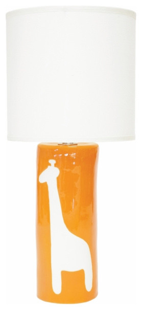 Orange Giraffe Silhouette Personalized Ceramic Cylinder Lamp modern children lighting