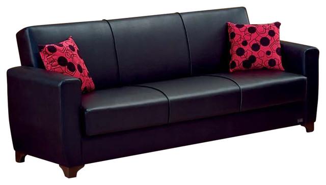 Empire Furniture Usa Harlem Modern Convertible Folding Sofa Bed Black