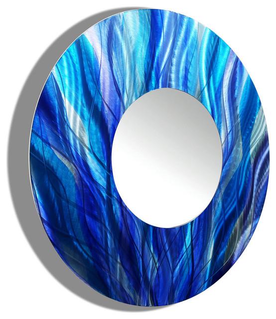 Turquoise Wall Mirror large round wall mirror - blue & aqua wall d cor - mirror 113