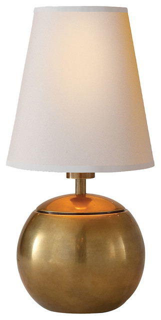 Thomas Ou0027Brien Tiny Terri Round Accent Lamp, Hand Rubbed Antique Brass  Contemporary