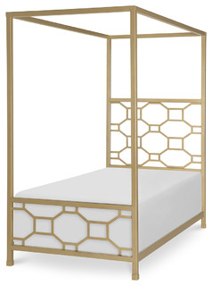 Rachael Ray Home Chelsea Twin Metal Canopy Bed, White/Gold 7810-5003