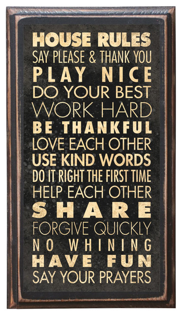 House Rules Home Decor Wall Art Plaque Sign Gift Present Pray Play Smile Love