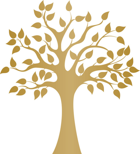Modern Golden Tree Wall Decal